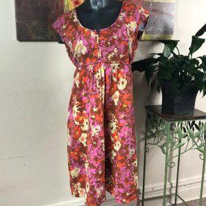 Eddie Bauer Dresses - EDDIE BAUER artsy floral cap sleeve tie back scoop